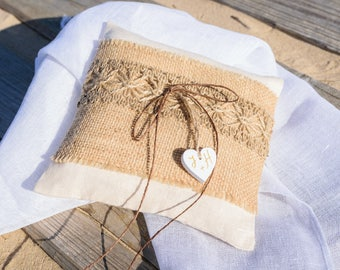 Linen Ring Bearer Pillow White With Brown Burlap, Rustic Ring Pillow, Natural Ring Pillow, Burlap, Rustic Wedding