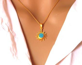 Sun pendant necklace, turquoise pendant, Sterling Silver pendant, Precious gift