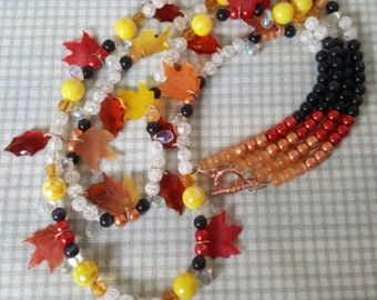Beaded Necklace - Fall's Leaf