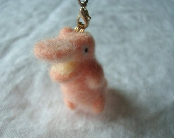 Needle felted peachy crocodile plush keychain
