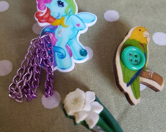 Retro My Little Pony MLP, Daffodil or Parrot/Parakeet Brooch.