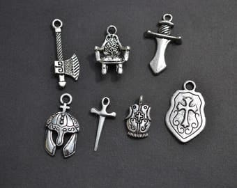Medieval Charm Collection, Set of 7 Silver Charms, Knight, King, Sword, Shield, Throne, Battle Axe, Helmet, Coat, Theme, Mix, Lot (CC13)