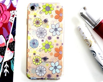 iPhone 7 Soft Silicone Retro Floral Pattern Case, Spring Cell Phone Case Gift Under 20, Cool Gift For Her, Baby Shower Gift For Friend