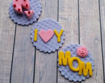 Mothers Day Cupcakes Fondant Toppers. (set 12 ) Mothers Day Decoration or Gift.
