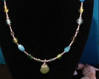 glass bead necklace/ teal and green glass bead necklace