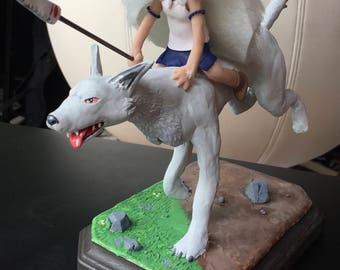 Princess Mononoke Sculpture (San and Wolf Pup)