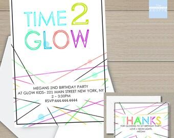 Time 2 Glow Birthday Party Invite, Second Birthday, Glow Party, Printable Invitation, *Digital File*
