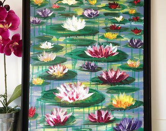 Oil paintings contemporary water lilies