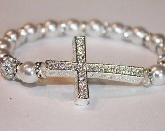 Stretchable Sideways Cross Bracelet