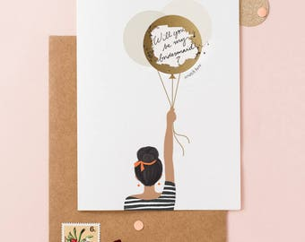 Will You Be My Bridesmaid Balloon Card - Scratch Off Balloon - Write Your Own  Message  - Dark Skin Girl with Black Hair In A Bun