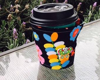 Ladybug, flowers, butterfly coffee cozy
