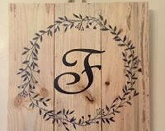 Wood Sign with Personalized Monogram