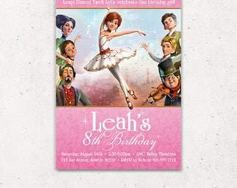 Leap Movie Ballerina Invitation for Birthday Party - Printable Digital File