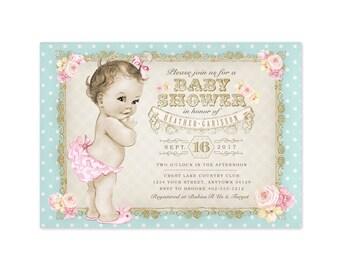 Vintage Baby Shower Invitation - Printable Digital File