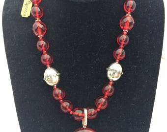 Red and Silver Glass Bead Necklace