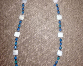 Hand Crafted Blue and Silver Necklace