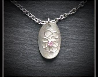 Oval CZ Syringe Pendant - Silver Precious Metal Clay (PMC), Handmade, Pendant - (Product Code: ACM047-17)