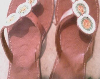 hand-made beaded leather sandals for ladies
