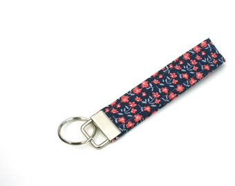Floral Key Fob / Wristlet / Key Fob Wristlet / Key Holder / KeyChain / Fabric Key Fob / Coral Flowers / Gift Under 10