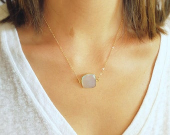 Blue Chalcedony Pendant with Delicate 14K Gold Filled Chain Necklace