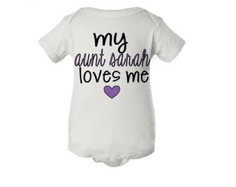 I Love My Aunt Bodysuit, I Love My Aunt Onsie, I Love My Auntie One Piece, Baby Shower Gift, Baby Announcement, Auntie Outfit, Best Aunt