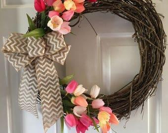 Tulip and Burlap Wreath