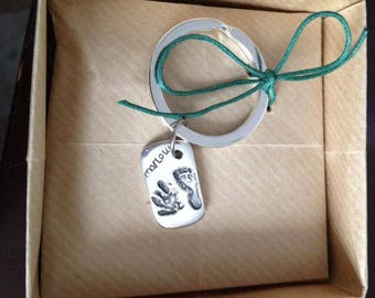Personalised baby hand and footprint silver keyring