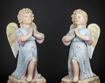"Beautiful 12"" Pair of Antique Bisque Porcelain Angles Statue Cherubs Putti Figurines Hand Painted 1"