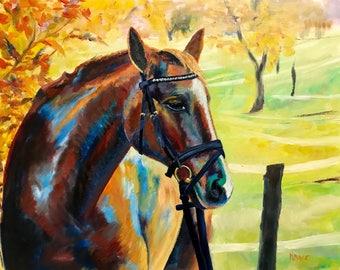 "Horse Painting - ""Lazy Sunday""- Original Oil Painting"