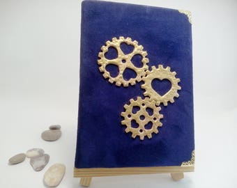 "Deep blue Suede Steampunk A6 Blank Book with aged paper Chamois Leather Notebook Drawing Sketchbook 4"" x 6"" Pocket Book Cute Journal Diary"