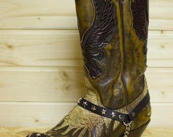 Leather boot straps with metal stars and chains