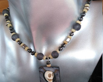 Skull Choker.  Made with Haematite and Smokey Grey Czech glass beads.