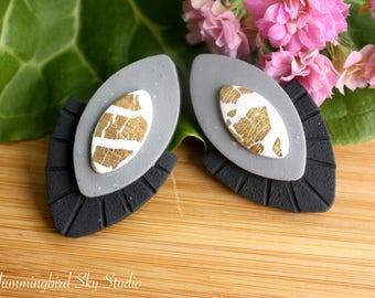 Polymer Clay Earrings~ Handmade Earrings~ Stud Earrings~ Gold Leaf Earrings~ Leaf Earrings~ Polymer Clay Jewelry