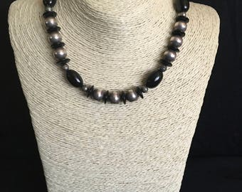 Black and Silver color Beads Necklace