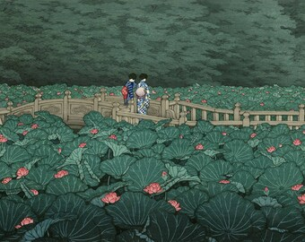 "Japanese Art Print ""Benten Pond at Shiba"" by Kawase Hasui, woodblock print reproduction, cultural art, water garden, landscape, water lotus"