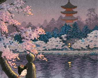 "Japanese Art Print ""Geisha and Cherry Tree, Ueno Park"" by Tsuchiya Koitsu, woodblock print reproduction, cultural art, landscape, blossoms"