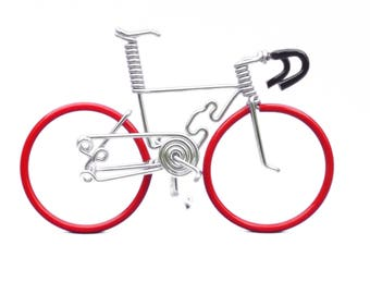 Miniature Road Bike, Bicycles and Cycling, Cake Topper, Bicycle Cake Topper, Hand Crafted, Road Bike, Red-Bk-Sil