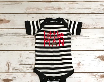 Little Man Striped Bodysuit