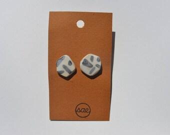 stud earrings, ceramic earrings, surgical steel, one-of-a-kind