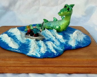 OOAK Lochness Monster Nessie fantasy crypto zoological polymer clay figure