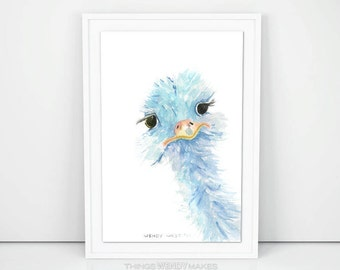 Watercolor Ostrich Digital Download