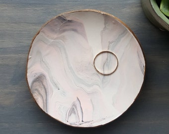 Blush/Gray Marbled Ring Dish