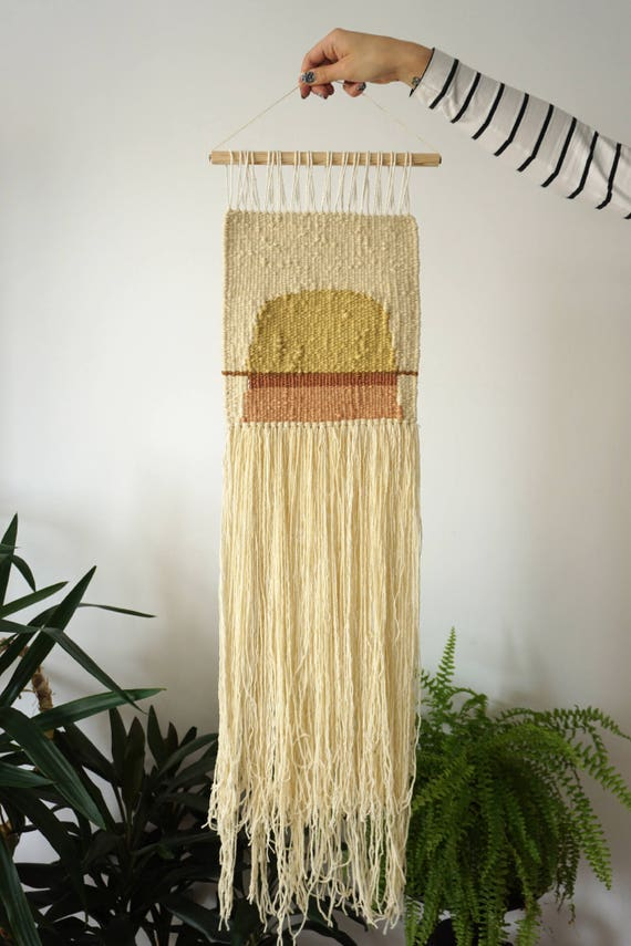 Avocado | Tansy | Walnut | Handwoven wallhanging made of plant dyed yarns