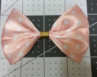 Peach polka-dot Hair Bow
