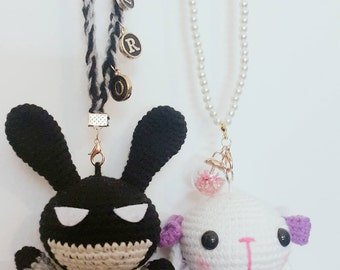 Crochet Couple Bunnies/Crochet Doll/Amigurumi/Car's Pendant/Key Chain/Bag Accessories/Super Bunnie & Snowy Bunnie