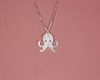 Octopus necklace sterling silver octopus necklace unique octopus necklace flat octopus necklace sea necklace