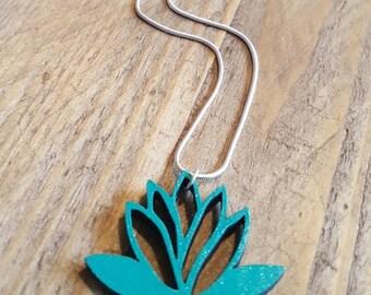 Lasercut wooden lotus pendant necklace - sea green