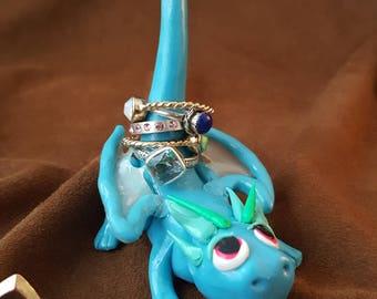 Blue Polymer Clay Dragon Ring Holder