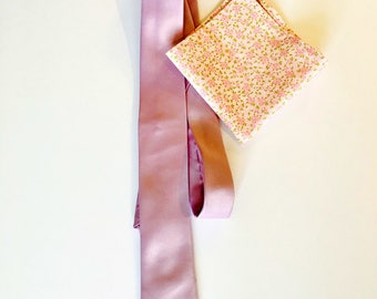 Light pink and green floral pocket square