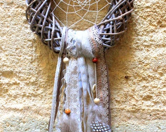 Dream catcher wood, ribbons, fabrics, feathers, beads and lace